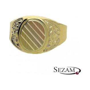 Sygnet męski złoty owalny trzy kolory numer PF PF06/SY Au 585