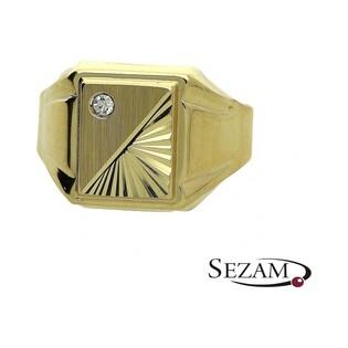 Sygnet męski złoty z cyrkonią numer PF010/SY Au 585