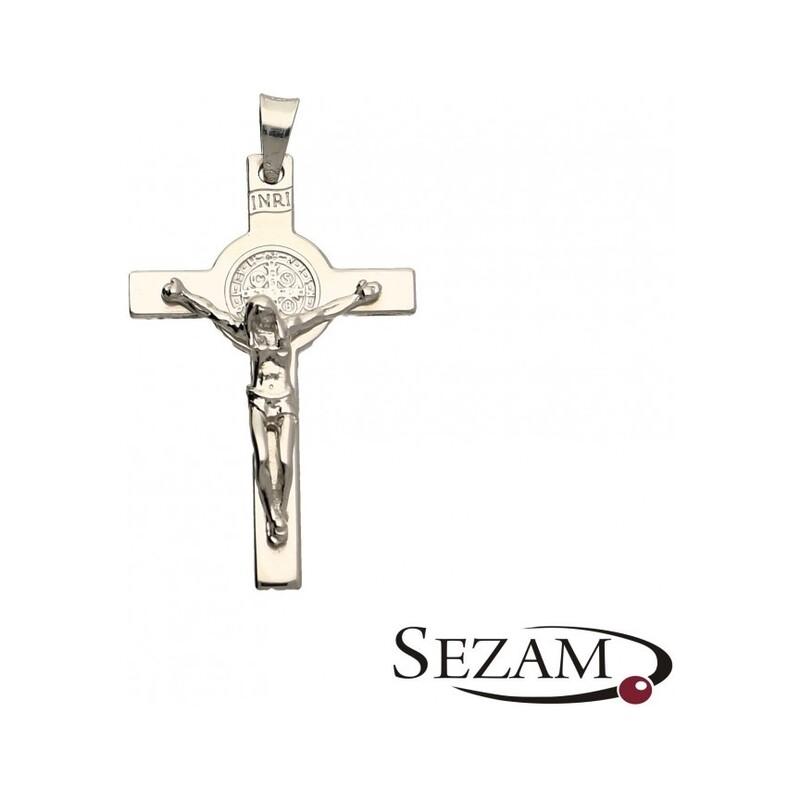 Krzyżyk męski srebrny z wizerunkiem Jezusa numer NI NI043/K rod AG 925