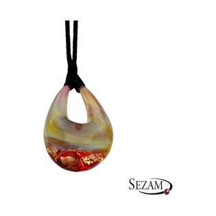 Naszyjnik wykonany ze szkła Murano numer KQ007 czerwono złote
