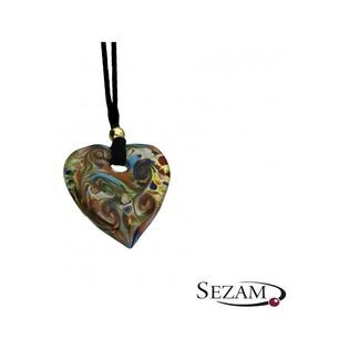 Naszyjnik serce wykonany ze szkła Murano numer KQ010 serce folk