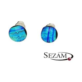 Kolczyki ze szkła murano kora niebiesko-zielona KQ035