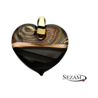 Serce wykonane ze szkła Murano numer AT-SAN MARCO brązowe