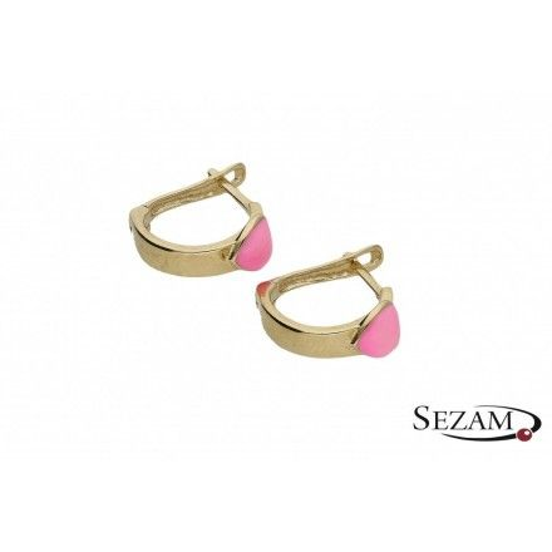 Kolczyki z różowymi serduszkami E1116-3-ENA