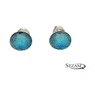 Kolczyki sztyfty ze szkłem murano zielono-niebieska kora KQ0040
