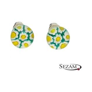 Kolczyki sztyfty ze szkłem murano kwiatki KQ048/1
