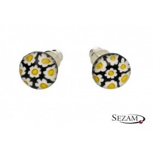 Kolczyki sztyfty ze szkłem murano kwiatuszki KQ048