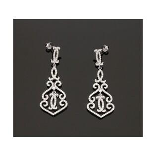 Kolczyki srebrne wiszące AURORA nr OA FY1270 rozeta dzban m.pave/sztyf