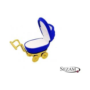Opakowanie na chrzest dla chłopczyka wózek niebieski numer FU-34/A14