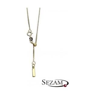 Naszyjnik złoty krawatówka z prostokątem nr BC 1390-020 prostokąt 3D, 14 karat