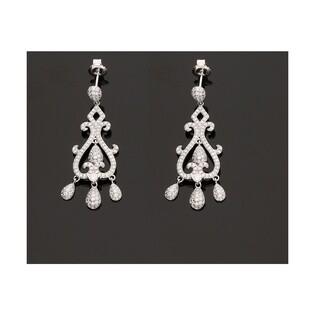 Kolczyki srebrne wiszące ażurowe AURORA nr OA F1456 rozeta gruszka m.pave/szty