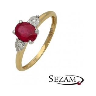Pierścionek zaręczynowy z diamentami i rubinem nr RQ 396M/RU rubin, Au 585