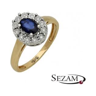 Pierścionek zaręczynowy z diamentami i szafirem nr RQ 395M/SA szafir Markiza MAGIC, Au 585