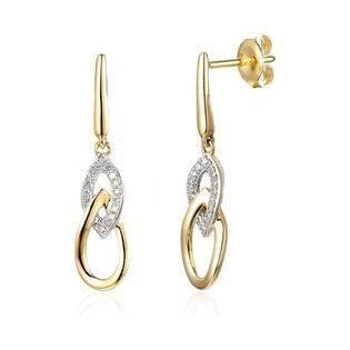 Kolczyki złote z diamentami nr AW 60104 Y, 9 karat