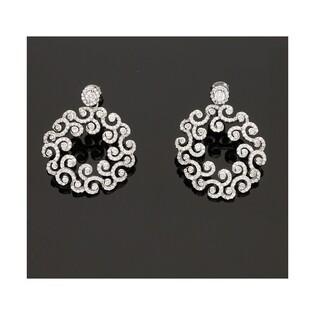 Kolczyki srebrne okrągłe wiszące AURORA nr OA K0031 koło ażur m.pave/dł.sztyft
