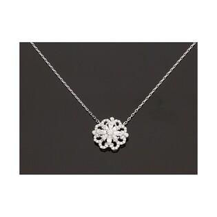 Naszyjnik srebrny cyrkonia rozeta nr OA F0812 rozeta m.pave kwiat/anker