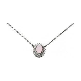 Naszyjnik srebrny z kwarcem różowym nr OA X0089/RQ BRH