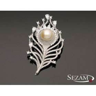 Broszka srebrna z cyrkoniami i perłą nr JA JA197