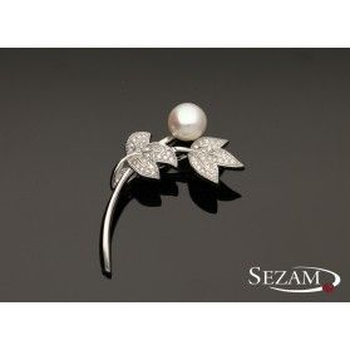 Broszka srebrna z cyrkoniami i perłą nr JA JA030