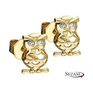 Kolczyki złote sowa z cyrkoniami nr MZ ES368-CZ Au 333