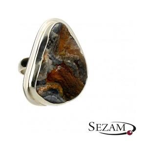 Pierścionek srebrny z różą chalcedonu nr GX MINERALS GX/rch/5