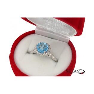 Pierścionek zaręczynowy z diamentami i topazem nr KU 3409 BT