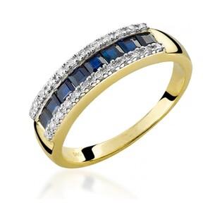 Pierścionek zaręczynowy z diamentami i szafirem LINE nr RS RSV0024