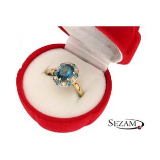 Pierścionek zaręczynowy z diamentami i topazem nr RS RSV0140 Markiza