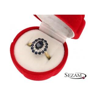 Pierścionek zaręczynowy z diamentami i szafirem nr RS RSV0155 Markiza Au 585