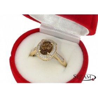 Pierścionek z diamentami i kwarcem dymnym nr KU 100965 SM
