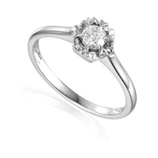 Pierścionek zaręczynowy z brylantem numer AW 35222 W białe złoto Flower