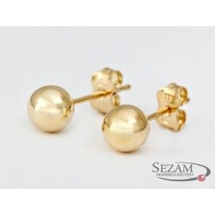 Kolczyki złote kulki gładkie nr MZ E5-7mm-Ball próba 585