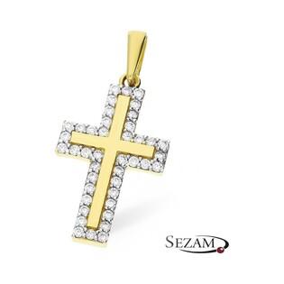 Krzyżyk złoty z cyrkoniami nr MZ P283-CZ próba 585