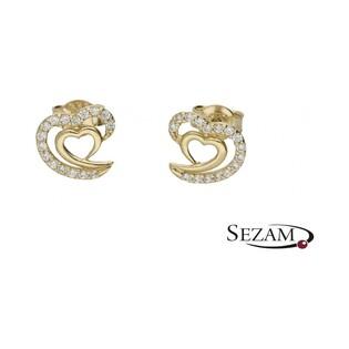 Kolczyki złote serca z cyrkoniami nr MX 17CE0044-Y Au 333