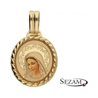 Medalik złoty emaliowany z wizerunkiem nr OS 204-IC45-40 emalia Au 585