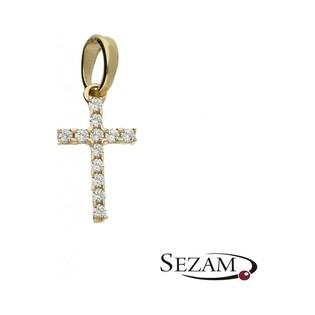 Krzyżyk złoty z cyrkoniami nr OS 96-9059-CR Au 585