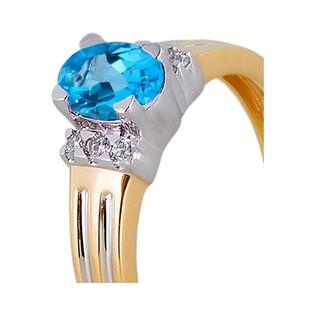 Pierścionek zaręczynowy z diamentami i topazem nr RQ 109M/BT