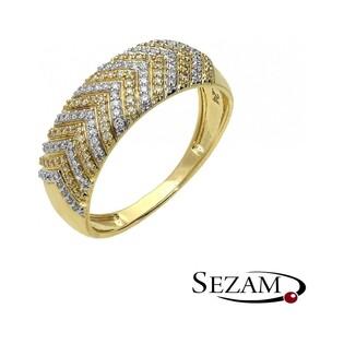 Pierścionek zaręczynowy z diamentami nr KU 106791 14 karat motyw Line