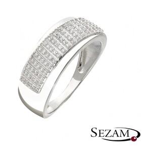 Pierścionek zaręczynowy z diamentami nr KU 107353 białe złoto motyw Line