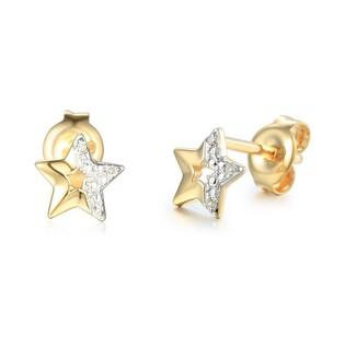 Kolczyki złote gwiazdki  z diamentami  nr AW 69370Y, 14 karat