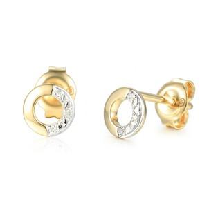 Kolczyki złote kółka z diamentami nr AW 69369Y, 14 karat Sezam - 1