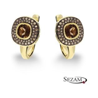 Kolczyki złote Art Deco z diamentami i kwarcem dymnym nr KU 1348-1020 SMCH Sezam - 1