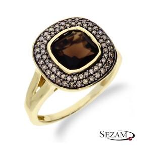 Pierścionek zaręczynowy Art Deco z diamentami i kwarcem dymnym nr KU 2354 SMCH