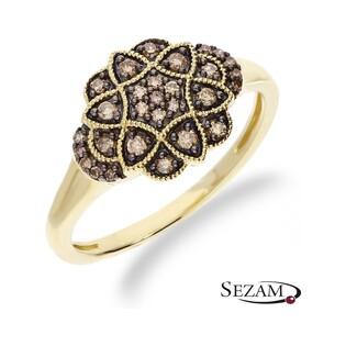 Pierścionek zaręczynowy z diamentami szampańskimi nr KU 5336 CH Art Deco