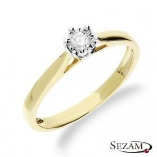 Pierścionek zaręczynowy z diamentem  Royal Magic nr RQ 517/08M Au 585