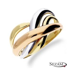 Pierścionek złoty 3 kolory AR 206060-TC Au 585