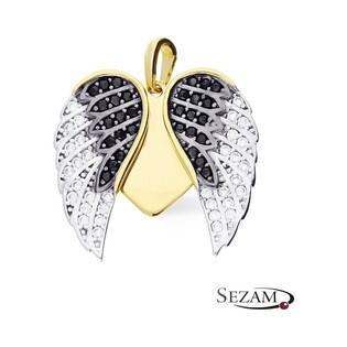 Serduszko złote ze skrzydłami MZ P2017-40-CZ-BCZ Au 585