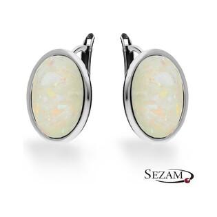 Kolczyki srebrne owale biały opal syntetycznynr SZ SZ122