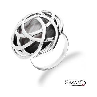 Pierścionek srebrny z imitacją masy perłowej nr UN 636 j.oksyda