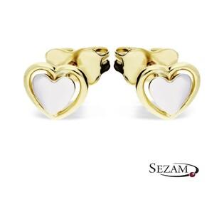 Kolczyki złote serce dwukolorowe AR X3E211710-YW-GW próba 333 Sezam - 1